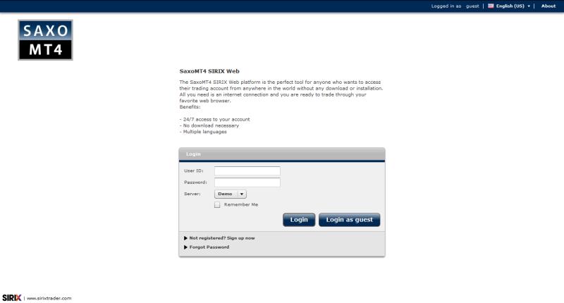 Saxo MT 4 Web Trader skärmdump